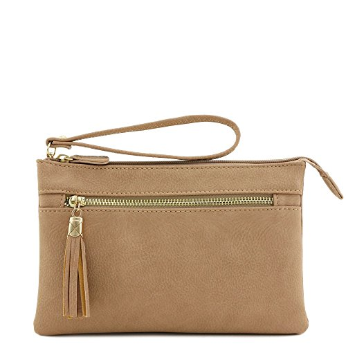 Compartment Tassel Dusty Double Crossbody with Wristlet Pink Bag Uww8dq