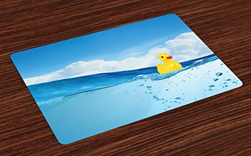 Ambesonne Rubber Duck Place Mats Set of 4, Little Duckling Toy Swimming in Pond Pool Sea Sunny Day Floating on Water, Washable Fabric Placemats for Dining Table, Standard Size, Blue Yellow