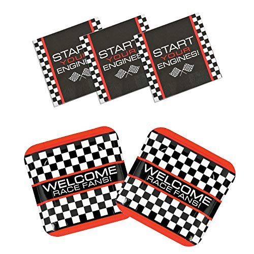 Fun Express Race Car Checkered Flag Party Bundle | Dinner Plates & Luncheon Napkins | Great for Racing Sports-Themed Party]()
