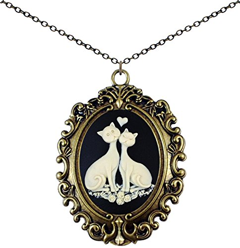 Yspace Antique Brass Necklace Cameo Vintage Lace Big Pendant Jewelry Deluxe Pouch Gift (Lovely Cat)
