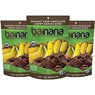 Barnana Organic Chewy Banana Bites, Dark Chocolate, 3.5 Ounce, 3 Count