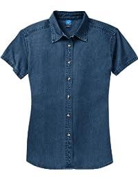 Port & Company Women's Short Sleeve Value Denim Shirt XL Ink Blue*