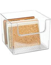 mDesign Caja organizadora – Práctico organizador de escritorio, salón, baño y mucho más – Caja de plástico con frontal más bajo para que el contenido esté más accesible – transparente
