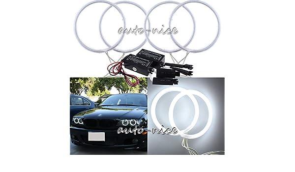 120 mm FidgetGear Color Blanco Juego de 4 Anillos de halo de Ojos de /ángel CCFL para Faros Delanteros de BMW E30 E32 E34