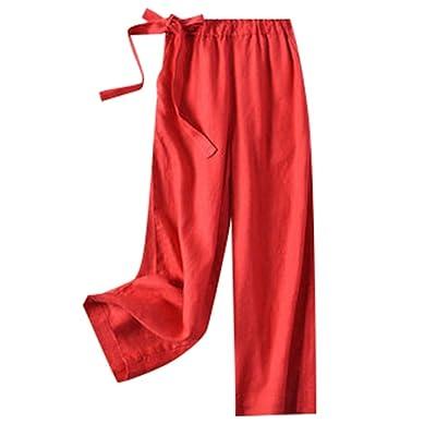 ACEBABY Pantalones Mujer Falda Pantalón Fluida para Mujer Bombacho Casual Verano Ancho de Lino Sueltos Casuales de Gran Tamaño: Ropa y accesorios