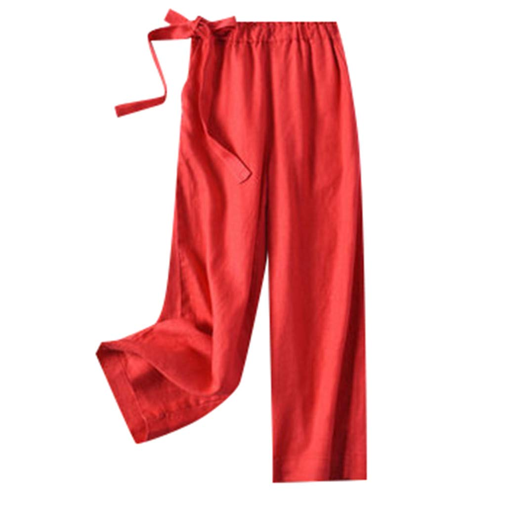 Wide Leg Pants for Women Petite Cropped Lightweight Casual Loose Elastic Waist Trouser Pants with Pocket aihihe