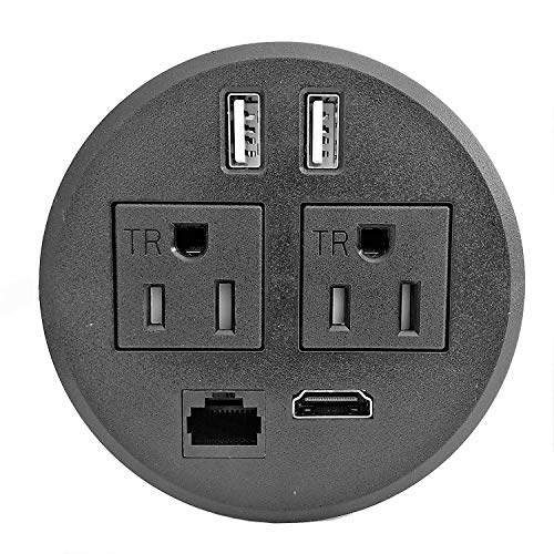 "PWR-Plug Power Grommet for Desk Office Furniture Fits 3.125"" Inch Grommet Hole 2 (TR) AC Outlets 2 USB Charging Ports 1 CAT6 1 HDMI ETL Listed (Round - (BLACK) Fits 3 1/8"" - 3 1/4"")"