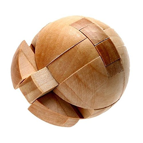 Ball Lock 3D Magic Puzzle Luxury Wooden Brain Puzzle-Unique Design-Brain Teaser Kids Adult Intellectual Toy Gift KongMing Lock Wood Block Cube Jigsaw Puzzle