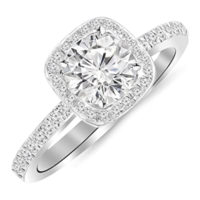 2.3 Carat 14K White Gold Classic Halo Style Cushion Shape Diamond Engagement Ring 14K White Gold with a 2 Carat Round Cut Moissanite (Heirloom Quality)