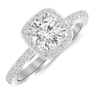 0.91 Carat Classic Halo Style Cushion Shape Diamond Engagement Ring 14K Black Gold with a 0.60 Carat H-I I2 Round Brilliant Cut/Shape Center