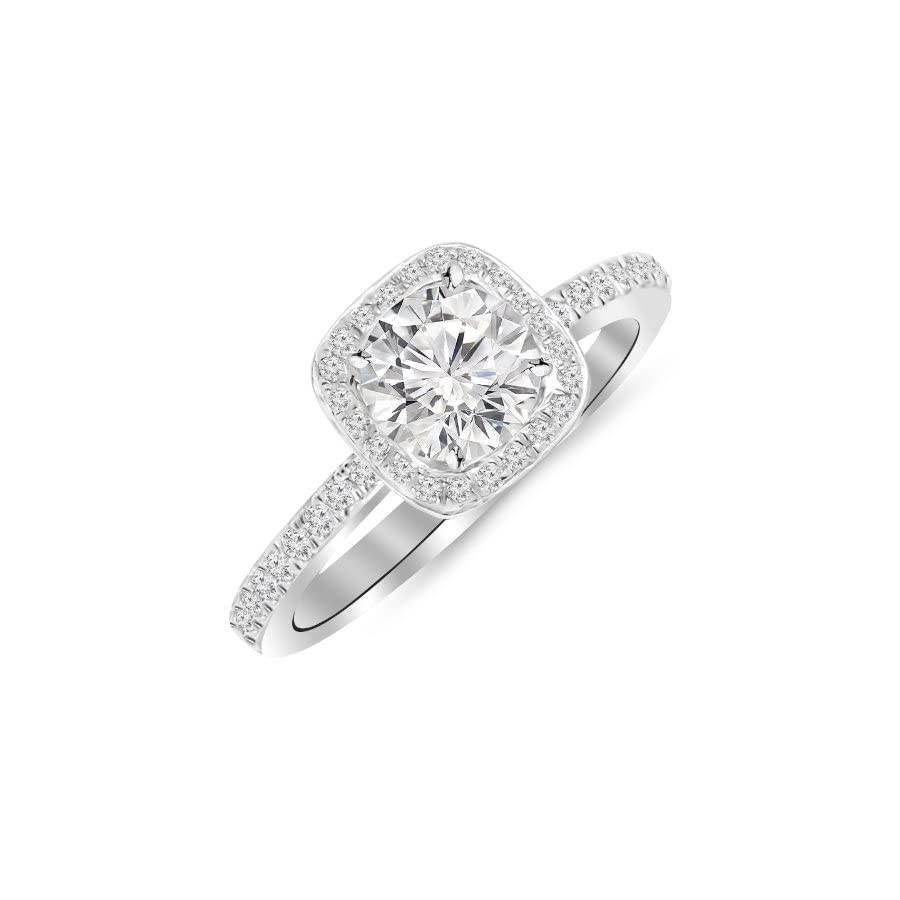 1 Carat 14K White Gold Classic Halo Style Cushion Shape Diamond Engagement Ring with a 0.75 Carat G H I2 Center