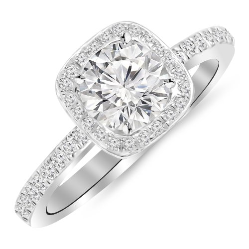 0.91 Carat Classic Halo Style Cushion Shape Diamond Engagement Ring 14K White Gold with a 0.60 Carat H-I I2 Round Brilliant Cut/Shape Center by Houston Diamond District