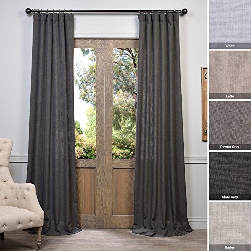 - Half Price Drapes FHLCH-VET13195-108 Slate Heavy Faux Linen Curtain, 50 x 108, Grey