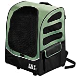 22x17.5x14 Inch Green 5-in-1 I -Go2 Traveler Plus Pet Backpack And Carrier With Wheels, Telescoping Handle Pets Upto 25 Lbs Removable Plush Pad Seat Belt Buckle Backpack Tote Or Rolling Case, Nylon