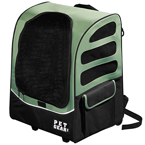 22x17.5x14 Inch Green 5-in-1 I -Go2 Traveler Plus Pet Backpack And Carrier With Wheels, Telescoping Handle Pets Upto 25 Lbs Removable Plush Pad Seat Belt Buckle Backpack Tote Or Rolling Case, (I-go2 Traveler Carrier)