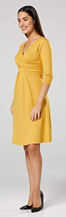 Zeta Ville Damska V Hals 3/4 Ärmel Lässig Trikot Kleid 282z (Mustard, 38, M): Odzież