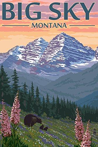 Montana Vintage Travel Poster - Big Sky, Montana - Bear and Spring Flowers (9x12 Art Print, Wall Decor Travel Poster)