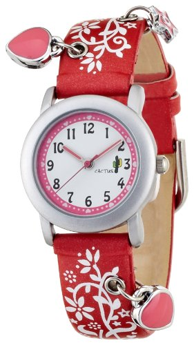 CAC Girls Watch with White dial and Red Flower Strap CAC-28-L07
