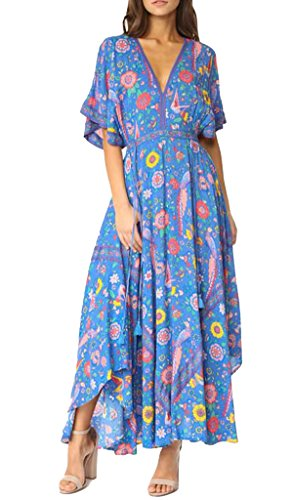 R.Vivimos Women Summer Print Deep V Neck Cotton Beach Long Dresses (Large, Blue)