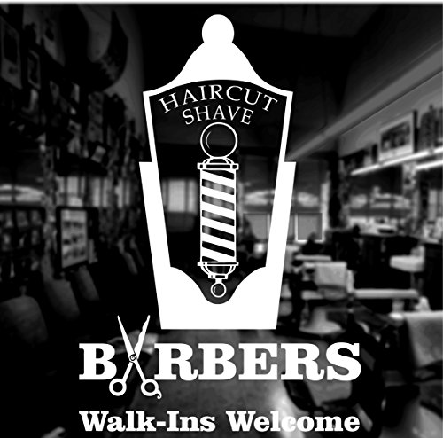 WHITE Haircut Shave Barber Shop Window Sticker Front Shop Self Adhesive Graphic Sign =REVERSE CUT/To be applied on the inside of window COLOUR=WHITE