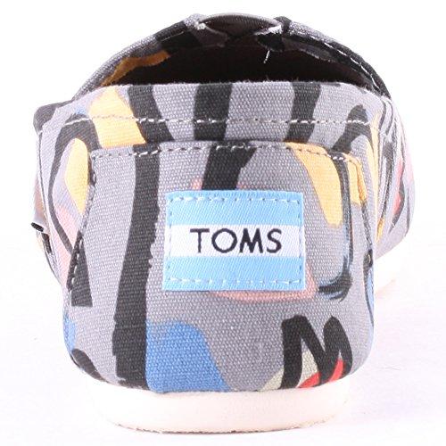 TOMS Womens Classics Flat Grey Canvas Abstract pOkvJnvR