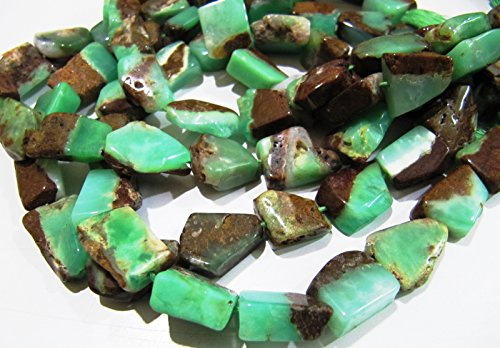 (Chrysoprase Chunky Nugget Beads / Free Form Gorgeous Faceted Australian Chrysoprase Tumbled Beads 12 to 18 mm / Strand 10 inches long)