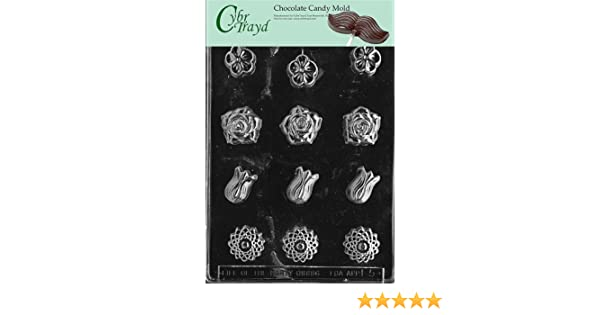 Cybrtrayd Life of the Party F082 Flower Mint Chocolate Candy Mold in Sealed Protective Poly Bag Imprinted with Copyrighted Cybrtrayd Molding Instructions