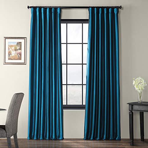 Half Price Drapes PTCH-JTSP001-96 Faux Silk Taffeta Curtain, Azul