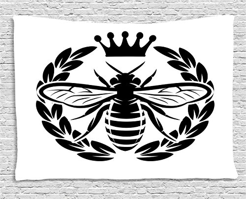(Ambesonne Queen Bee Tapestry, Monochrome Wreath Insect and Crown Abstract Bee Silhouette Ruler of The Colony, Wall Hanging for Bedroom Living Room Dorm, 60 W X 40 L inches, Black White)