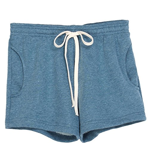 Hot Unita Sport Pants Denim Estivi Tinta Donna Corti Pantaloni Vita Pantaloncini Elastica Casuale Fitness Blu Coulisse 5q71C1Bw