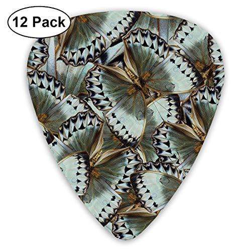 Guitar Picks 12-Pack,Butterflies Jungle Queen Animal Spiritual Wings Nature Moth Transform Print