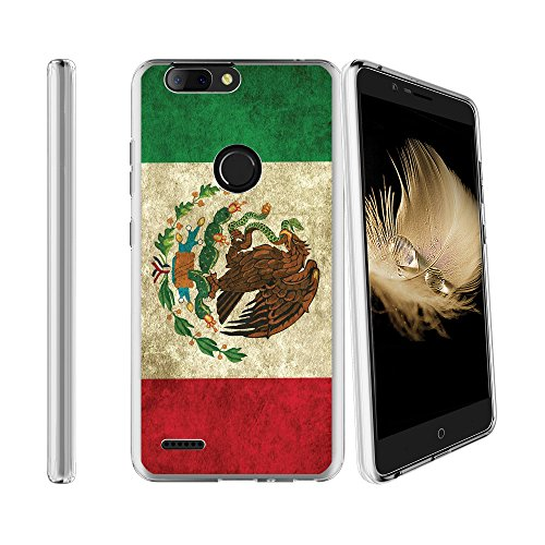 Compatible with ZTE Blade Z Max Sequoia Z982 Soft Flexible TPU Gel Skin Case [Ultra Slim] Cover - Mexican Flag