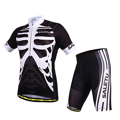 マークダウンオンのぞき見春夏 メンズ サイクルジャージ 半袖 上下セット 自転車 サイクルウェア サイクルジャー サイクルジャージ 上下 男女兼用 黒白