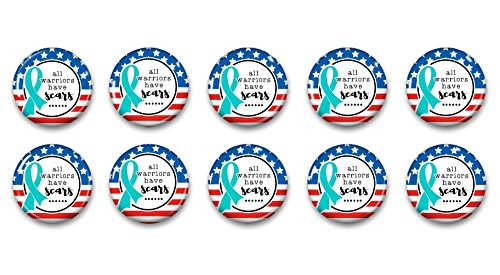 All Warriors Have Scars PTSD Awareness Pinback Buttons Set Of 50