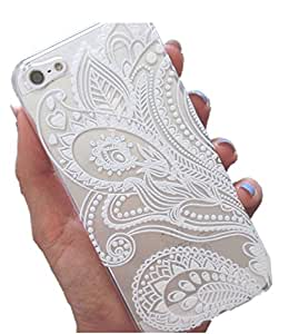 iPhone 6 Case, Wild Cube(TM) Henna White Floral Paisley flower mandala ethnic tribal Plastic Case Cover for Apple Iphone 6 (4.7inch)