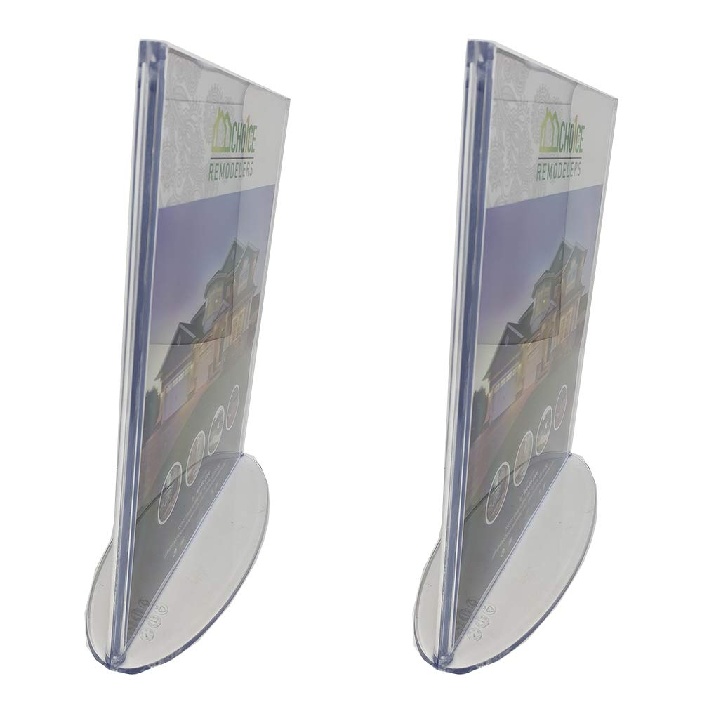 Premium 8.5 x 11 Plastic Sign Holder Thick Durable Clear Holds Print Flyer for Tabletop T-Style Table Tent with Oval Base 2 Pack