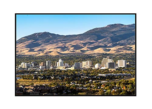 (Reno, Nevada - Cityscape with Casinos - Photography A-97770 97770 (24x16 Framed Gallery Wrapped Stretched Canvas))