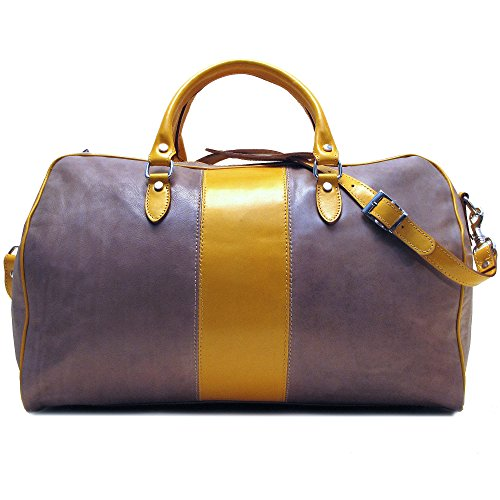 (Floto Venezia Duffle Bag in Grey and Yellow Italian Calfskin Leather)