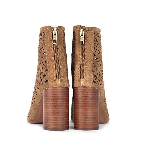 Ash Footwear Flirt Santal Suede Laser Cut Peep Toe Boot Russet lb2ak4N