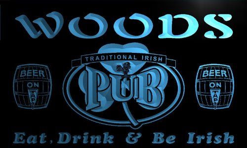 pa1107-b Woods Irish Shamrock Home Pub Bar Beer Neon Light Sign by AdvPro Name (Image #3)