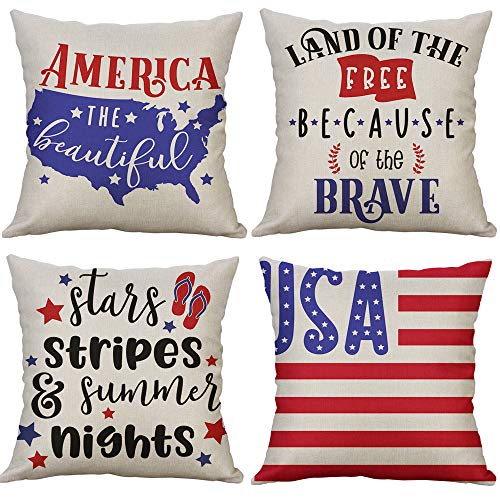 LEVOSHUA 4 Pack American Flag Pillowcase Throw Pillow Case Cushion Cover Patriotic 4th of July Cotton Linen Pillowcase Home Decorative for Sofa 18
