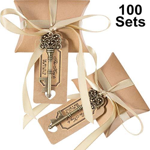 Jovitec 100 Sets Vintage Key Bottle Openers Wedding Favor Souvenir Gift Set Pillow Shape Candy Gift Box Escort Thanks Tag French Ribbon (Bronze)
