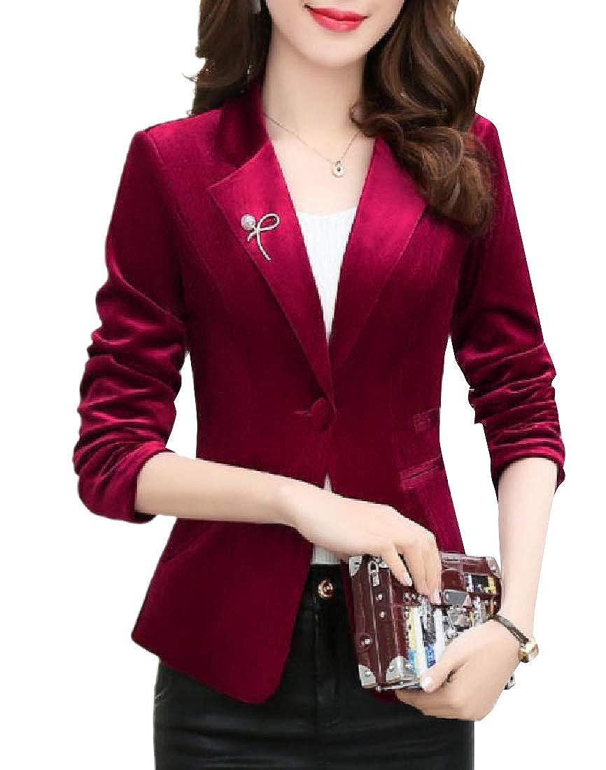 YUNY Womens Slim Tailoring Center Vent Pleuche Bridal Suit Coat Wine Red M