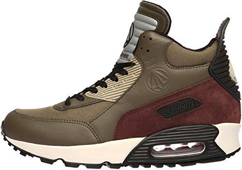 Paperplanes-1339 Unisexe À La Mode Haut Haut Air Coussinage Sneakers Chaussures Kaki Vin
