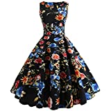 Women Dresses Lady Large Size Print Vintage Bodycon Sleeveless Prom Evening Party Swing Dress with Belt (S, Black #)