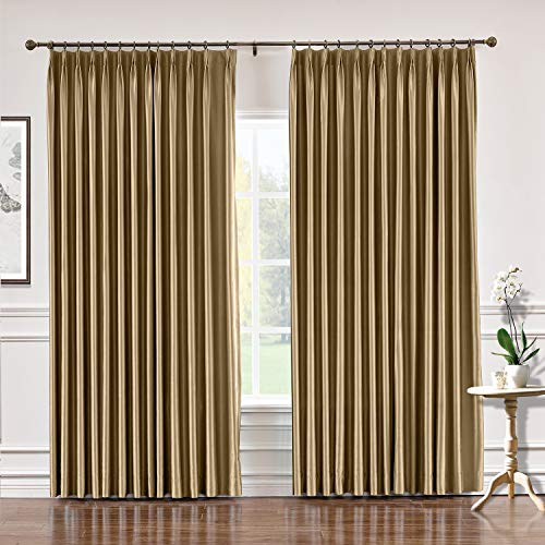 TWOPAGES 72 W x 84 L Pinch Pleat Faux Silk Curtains Drapery Panel for Traverse Rod Or Track, Living Room Bedroom Meetingroom Club Theater Patio Door (1 Panel), Taupe ()