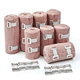 Premium Elastic Bandage Wrap Compression Roll, Set of 8 Pack FDA Approved Polyester Cotton. Four Rolls of Each Size, 4 Inch x 5 Feet & 3 Inch x 5 Feet, Includes 8 Extra Clips & Hook and Loop Closure