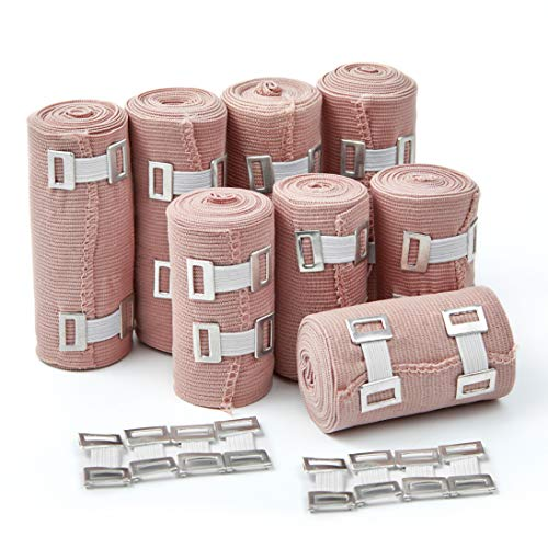 (Premium Elastic Bandage Wrap Compression Roll, Set of 8 Pack FDA Approved Polyester Cotton. Four Rolls of Each Size, 4 Inch x 5 Feet & 3 Inch x 5 Feet, Includes 8 Extra Clips & Hook and Loop Closure)