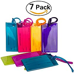 7 Pack TravelMore Luggage Tags For Suitcases, Flexible Silicone Travel ID Identification Labels Set For Bags & Baggage - Multi Color Pack
