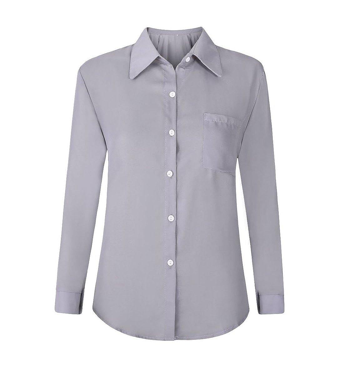 Camisa de Mujer Manga Larga Casual Blusa Tops Camiseta De La Gasa T/única Camisa Manga 3//4 Tama/ño Grande